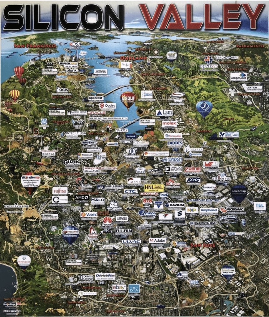 map, foothill, san francisco, silicon valley