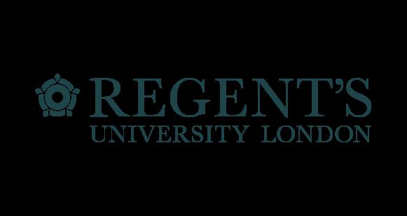Regent's logga med grön text och liten blomma