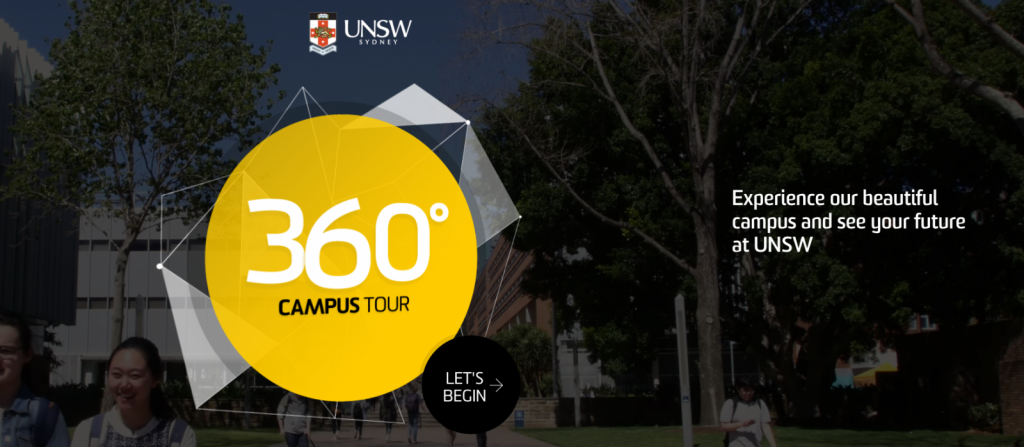 360 campus tour på unsw i Sydney på blueberry.nu