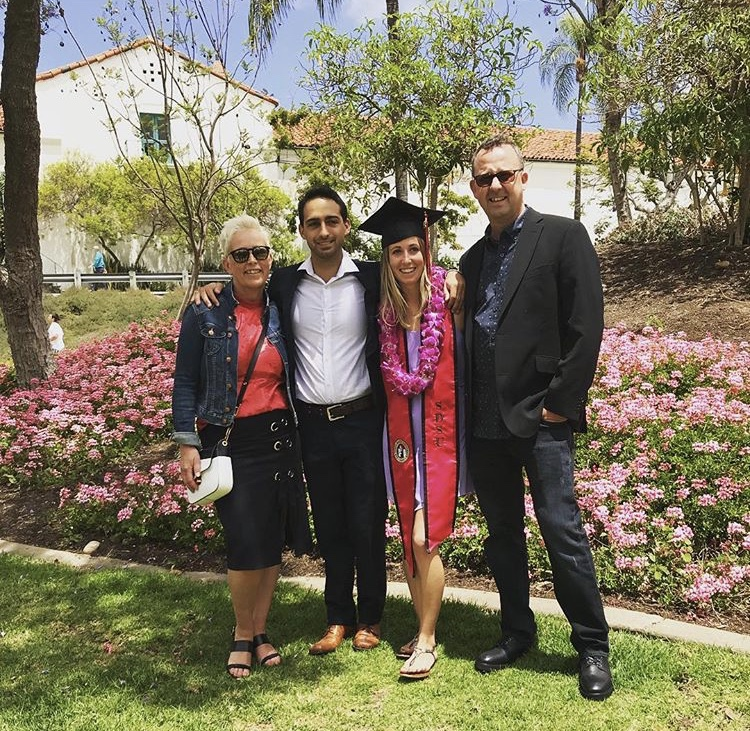 Studera utomlands på San Diego State University, Bachelor Degree, USA, graduation, Santa Barbara City College, family, celebration