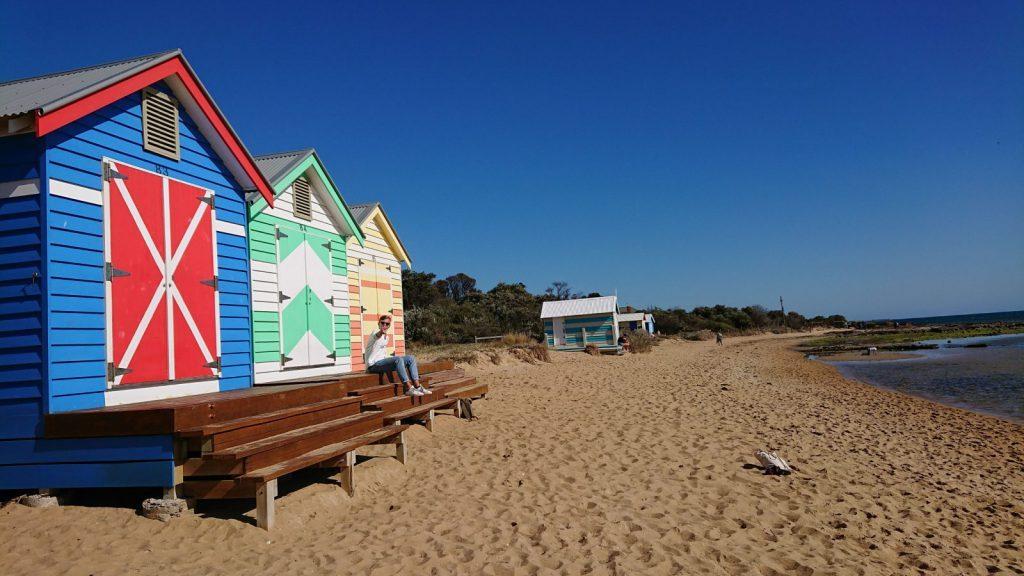 strand, Melbourne, bad hyttor, solsken, vatten, utlandstermin, swinburne university of technology, australien, studera utomlands, ansök på blueberry.nu