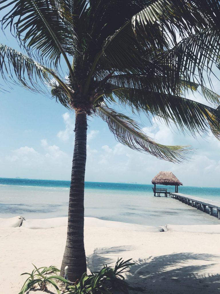Vy från strand i Mexico